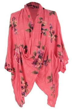 d40e1b73ab3 Floral Cowl Crossover Wrapover Front Cotton Tunic Top One Size UK 8-20  Cotton Tunic
