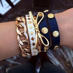 Gold, navy, and white bracelets jewelry bracelets gold white bow hand wrist navy chain spades