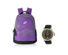 American Tourister Purple Backpack n Ego Watch @ 51% OFF, 1508/- Instead of 3078/-