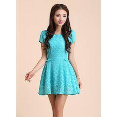 Alfa Women's Fashion Stereoscopic Jacquard Ruffle Bottom Short Sleeve Dress(Screen Color) – USD $ 18.99