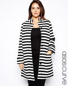 Bild 1 von ASOS CURVE – Exklusiver Mantel mit Streifen