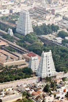 Temple, Tiruvannamalai, Tamil Nadu, India. Aerial view, stock photo Temple India, Hindu Temple, Indian Temple Architecture, Ancient Architecture, Kerala, Amazing India, History Of India, Tourist Places, India Travel