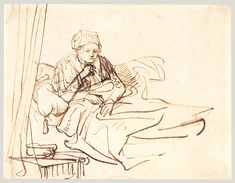 """artist-rembrandt: """"A Woman Sitting up in Bed, Rembrandt Van Rijn Size: cm"""" Rembrandt Etchings, Rembrandt Drawings, Rembrandt Paintings, Leiden, Storyboard, Paul Klee Art, Baroque Painting, Drawing Studies, Old Master"""