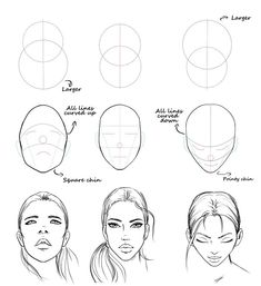 Easy face drawing tutorial with construction lines by AlicjaNai Pencil Art Drawings, Art Drawings Sketches, Easy Drawings, Dress Sketches, Quote Drawings, Realistic Drawings, Drawing People Faces, Drawings Of Faces, Sketches Tutorial