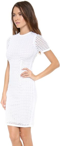 Crochet Fitted Tee Dress - Lyst
