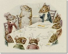 """'The Tale of Johnny Town-Mouse', 1918 -- Beatrix Potter. """"The dinner was of eight courses; not much of anything, but truly elegant. Illustration Story, Woodland Illustration, Beatrix Potter Illustrations, Beatrice Potter, Peter Rabbit And Friends, Cicely Mary Barker, Animal Sketches, Illustrators, Fairy Tales"""