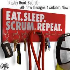 Our new rugby hook boards are perfect for rugby players and fans to organize and hang keys, hats, and other small accessories. They can also be used as distinctive medal displays!