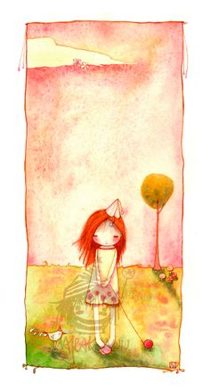 """Giclee Print. Heartwarming Illustration. Red Hair girl: """"She is Sorry"""" by Majeak Ann  - Limited Edition on Etsy, $70.00"""