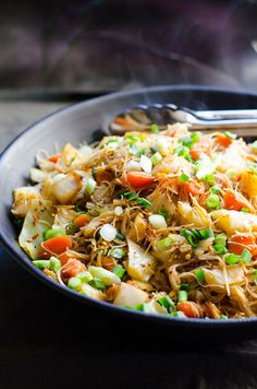 Cabbage and Carrots Stir Fry is an easy rice noodle recipe ready for dinner in 20 minutes. | ifoodreal.com