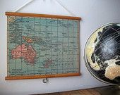 "Vintage ""Pull Down"" School Map Wall Hanging Print on  Fabric with Stained Wood Doweling Trim - Oceania Australia New Zealand"