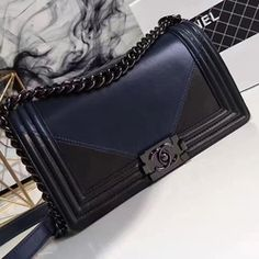 5610532a8d8c Chanel Lambskin Medium Boy Bag Navy Blue and Black A67086 Designer Bags For  Less, Chanel