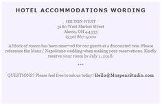 Sample card for hotel room block invite