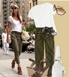 Green ruched cargo pants, white tee, brown aldo wedges