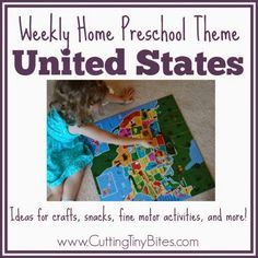 United States Weekly Home Preschool Theme.  Ideas for crafts, music, snacks, picture books, field trip, and more!  Perfect amount of activities for one week of home preschool!
