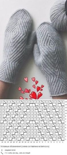 Crochet Patterns Gloves Knitting pattern of knitted mittens Knitting Charts, Knitting Socks, Knitting Stitches, Baby Knitting, Knitting Patterns, Knitting Needles, Hat Patterns, Loom Knitting, Free Knitting