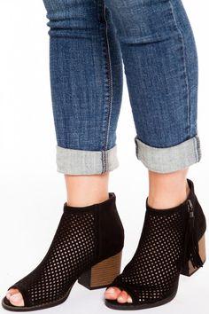 Cute Black Suede Ankle Booties - Laser Cut Ankle Booties - Vegan Suede Booties - $42.00 | HER. Boutique