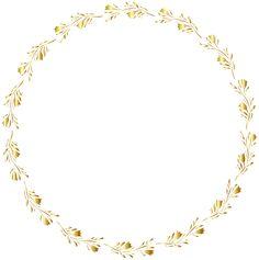 Gold Round Floral Border Transparent Clip Art Image