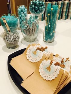 Grey and teal baby shower candy bar.