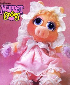 1980s Vogue 8967 Muppet Babies Miss Piggy Stuffed Animal Toy and Clothes Vintage Sewing Pattern 17 Inch Doll Uncut