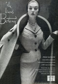Jean Patchett wearing a Botany worsted tweed suit and coat, 1953.