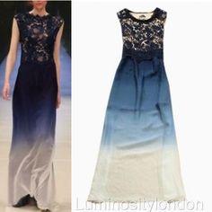 Ocean Blue Silk And Lace Sleeveless A-Line Dress, Long Maxi Dress, Formal Dress, Evening Cocktail Dress, Evening Dress, Women's Clothing