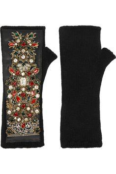 DOLCE & GABBANA Embellished leather-paneled cashmere-blend fingerless gloves