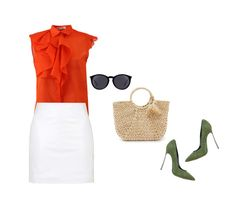 """Olive and orange"" by blueeyed-dreamer ❤ liked on Polyvore featuring Jil Sander, Topshop, Hat Attack, Casadei, Yves Saint Laurent, Pumps, orange, sunglasses, blouse and StrawBag"