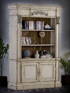 Country French Distressed Carved European Bookcase for US$2,550.00 USD  Free domestic shipping.