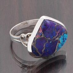 PURPLE COPPER TURQUOISE 925 SOLID STERLING DESIGNER RING 7.70g DJR6312 #Handmade #Ring