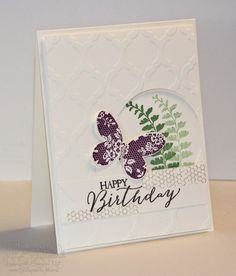 Jills Card Creations:  Stamps-Butterfly Basics:  Paper-Very Vanilla:  Ink-Blackberry Bliss, Gardent green, Crumb Cake, Early Espresso:  Accessories-Modern mosaic embossing folder, 2.5 circle punch, Butterfly Thinlits, Pearls