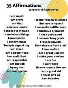 A list of 35 Affirmations to Create Confident Kids! Positive Affirmations For Kids, Morning Affirmations, Love Affirmations, Parenting Advice, Kids And Parenting, Leadership, Coaching, Kids Mental Health, Coping Skills