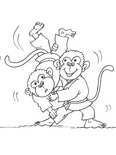 Cartoon Monkey Slamming MonkeyJudoColoring Pages For