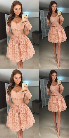 homecoming dresses,homecoming dress, pink homecoming dress,short homecoming dress · HerDresses · Online Store Powered by Storenvy Lace Homecoming Dresses, Hoco Dresses, Dance Dresses, Pretty Dresses, Beautiful Dresses, Formal Dresses, Winter Dresses, Long Sleeve Dresses, Homecoming Outfits