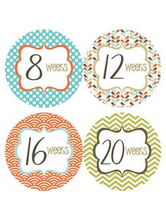 Pregnancy Stickers Week Baby Bump Stickers Weekly Belly Stickers Blue Orange Pregnancy Expectant New Moms Maternity Photo Prop - Pat-R