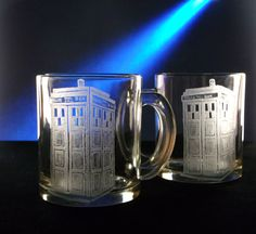 TARDIS coffee cup set of 2 , coffee mug ,hand engraved glass, kitchen , glassware, geekery, police box , doctor who, gift ideas