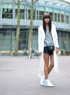Find this Pin and more on Looks (street style) . ❤ The look (outfit long  white zara coat nike sky high mesh dunks)