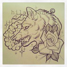 @hilaryjanetattoos- wolf rose tattoo ink