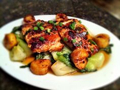 Sticky-Pan Salmon and Scallops with Dressed Greens