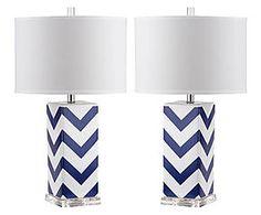 Set di 2 lampade da tavolo in ceramica Saria blu/bianco - 38x69 cm