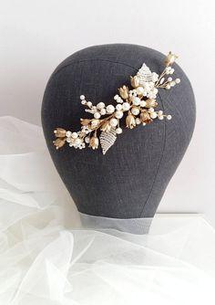 Ivory Gold Bridal hair comb Gold Bridal headpiece Bridal
