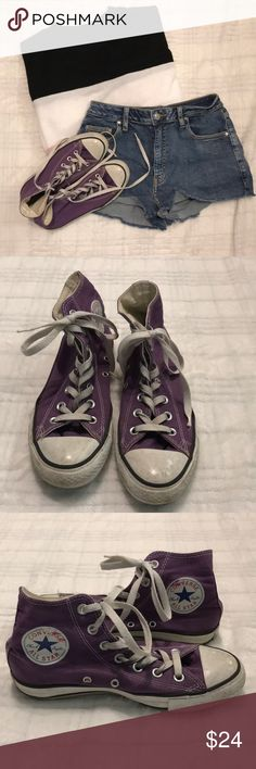ecf1101ec82d88 Converse High Tops Super trendy purple converse high tops! These shoes have  been loved deeply