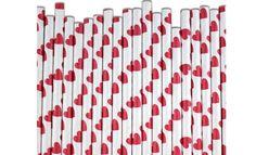 Delightful red heart paper straws Mini Milk Bottles, Paper Hearts, Paper Straws, Sauce Bottle, Birthday Parties, Diy, Blog, Holiday Decor, Straws