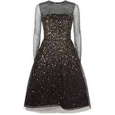 Oscar de la Renta Sequin Tulle Dress (£5,550) ❤ liked on Polyvore featuring dresses, vestido, flared dresses, tulle dress, tulle cocktail dresses, party dresses and sparkly cocktail dresses