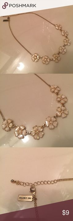 Statement Necklace NWOT Gold with white flowers & rhinestone centers. Dress up/down. Never worn. The Limited. Adjustable clasp for perfect fit. The Limited Jewelry Necklaces