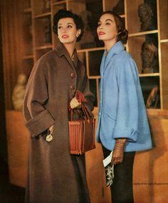 Vintage 1950s Dresses - 1950 Floral Enka Rayon Dress by Joseph whitehead Skinner - 1950 Womans Day - 1952 Knitting Annual...