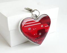 Circuit board geekery bag charm Bright Red Heart by ReComputing, $25.00