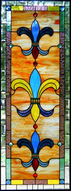 Colors of New Orleans Stained Glass Window - wouldn't this make a lovely quilt border Stained Glass Designs, Stained Glass Projects, Stained Glass Patterns, Stained Glass Art, Stained Glass Windows, Mosaic Art, Mosaic Glass, Fused Glass, Mandala