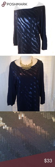 ✨Liz Claiborne 1X plus navy blue zebra sequins This sparkly plus sized shirt is sure to add some pizzazz to your every day wardrobe. Super classy, yet fun look. Navy blue. In like new condition. Please see photos. Please ask any questions before purchasing. Liz Claiborne Tops Tees - Long Sleeve