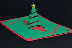 Easy Christmas Tree Pop Up Card Template Creative Pop Up Cards Pop Up Christmas Cards Homemade Christmas Cards Diy Christmas Cards