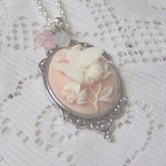 Cameo Pendant - Peach Butterfly - Neo Victorian Jewelry - Butterflies & Flowers. $21.00, via Etsy.